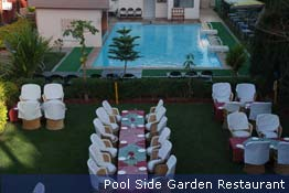 Pool side garden restaurant